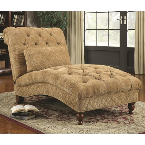 Coaster Accent Seating Golden Toned Accent Chaise with Elegant Traditional Style
