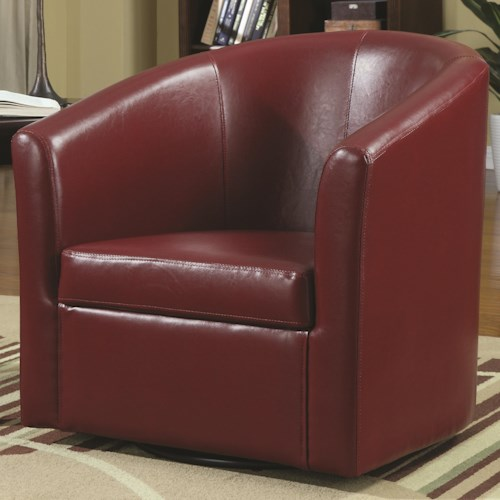 Coaster Accent Seating Contemporary Styled Accent Swivel Chair in Red Vinyl Upholstery