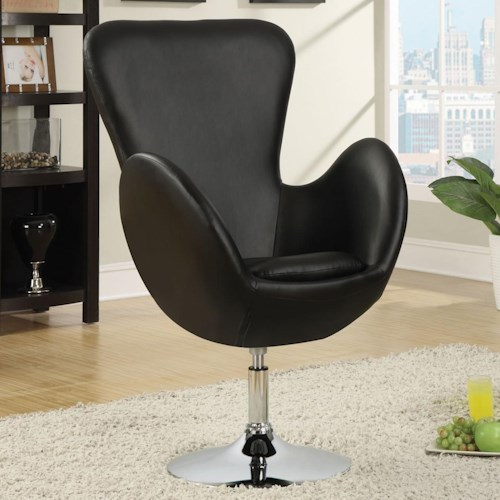 Coaster Accent Seating Swivel Leisure Chair (Black)
