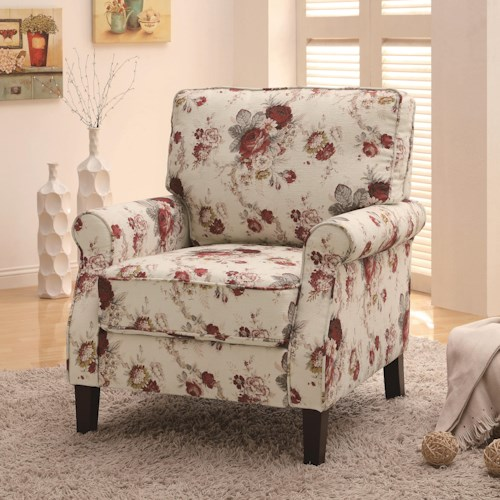Coaster Accent Seating Upholstered Floral Accent Chair
