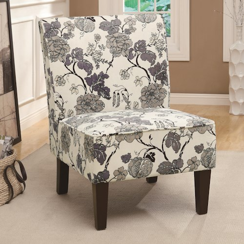 Coaster Accent Seating Gray Floral Accent Chair