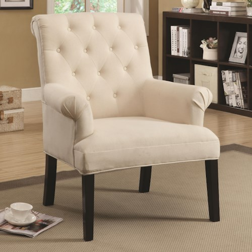 Coaster Accent Seating Rolled Back Chair with Button Tufts