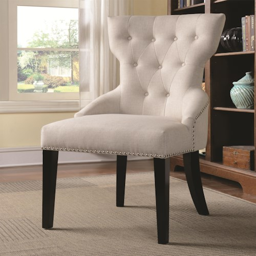 Coaster Accent Seating Button Tufted Back Chair with Nail Head Trim