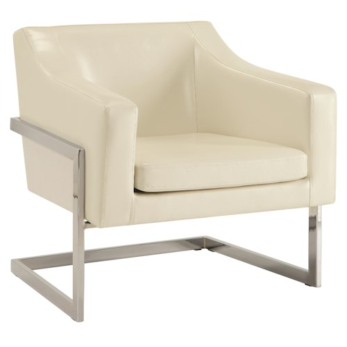 Coaster Accent Seating Contemporary Accent Chair in Grey Linen-Like Fabric with Exposed Metal Frame