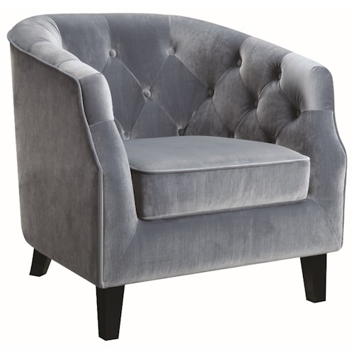 Coaster Accent Seating Barrel Back Accent Chair with Diamond Tufting