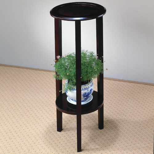 Coaster Accent Stands Round Plant Stand Table with Bottom Shelf