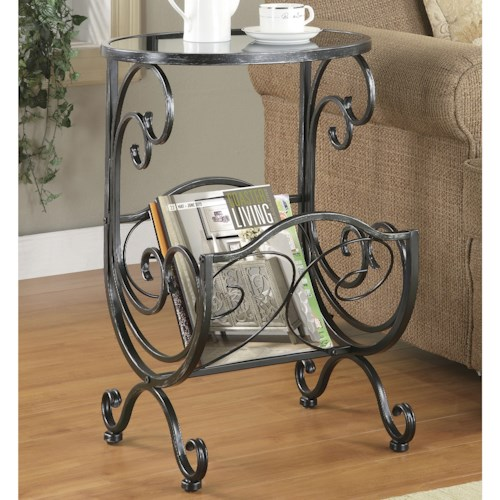 Coaster Accent Tables Metal & Glass Side Table with Scroll Magazine Rack