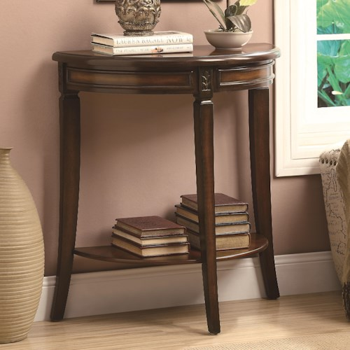 Coaster Accent Tables Dark Cherry Sofa Table with Sunburst Veneers