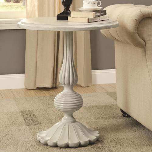 Coaster Accent Tables White Pedestal Accent Table