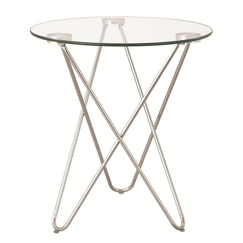 Coaster Accent Tables Petite Accent Table w/ Glass Top
