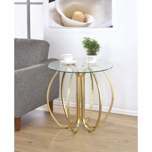 Coaster Accent Tables Glass Accent Table with Base formed From Interlocking Rings