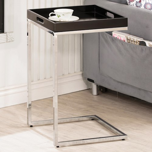 Coaster Accent Tables Chrome Metal Snack Table with Removable Tray Top