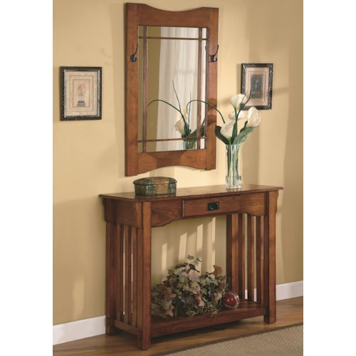 Coaster Accent Tables Mission Style Accent Table & Framed Mirror Set