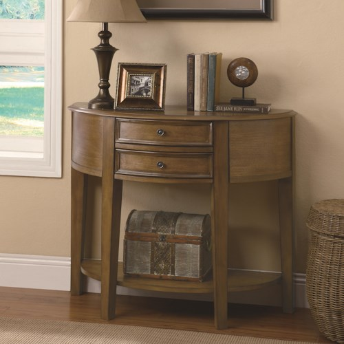 Coaster Accent Tables 2 Drawer Demilune Entry Table with Shelf