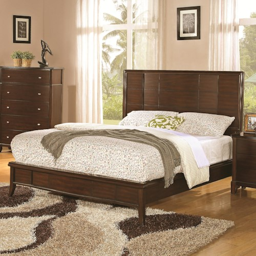 Coaster Addley King Low Profile Bed with Panel Headboard