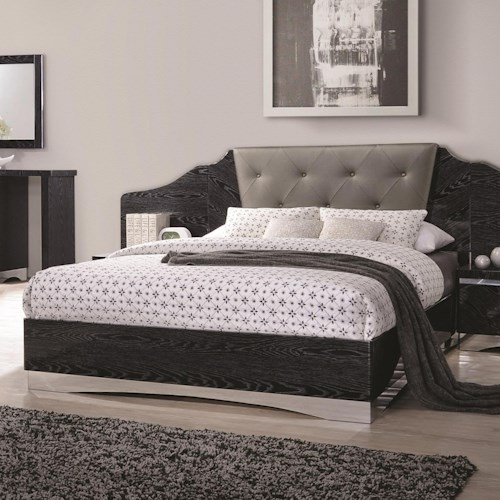 Coaster Alessandro Queen Low Profile Bed with Upholstered Panel Headboard