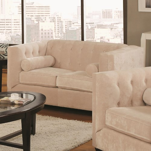 Coaster Alexis Transitional Chesterfield Stationary Loveseat with Track Arms