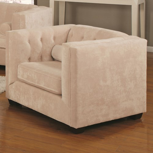Coaster Alexis Transitional Upholstered Chesterfield Chair with High Track Arms