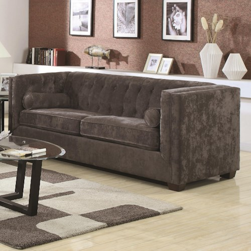 Coaster Alexis CH Transitional Chesterfield Sofa with Track Arms
