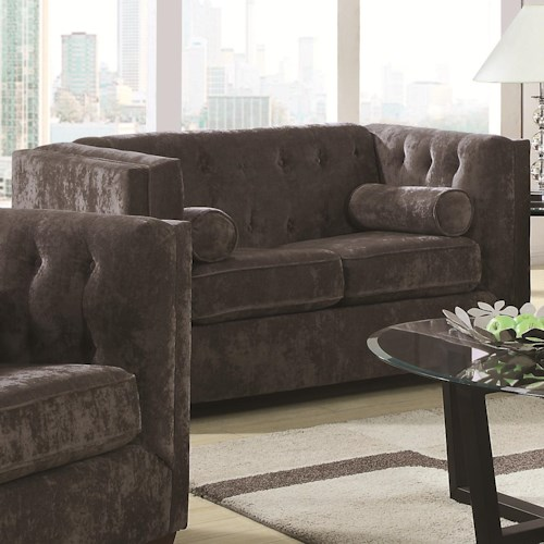 Coaster Alexis CH Transitional Chesterfield Stationary Loveseat with Track Arms