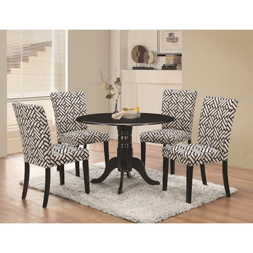 Coaster Allston Round Pedestal 5 Pc Table & Chair Set