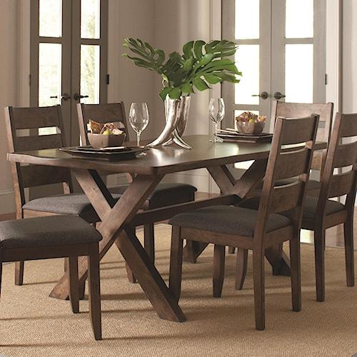 Coaster Alston Rustic Trestle Dining Table