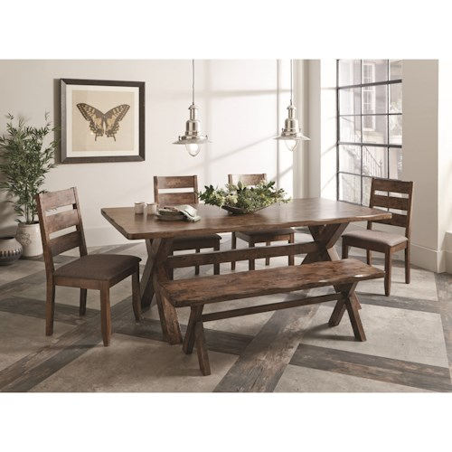 Coaster Alston Rustic Dining Set with Bench