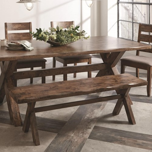 Coaster Alston Rustic Bench with X-Base