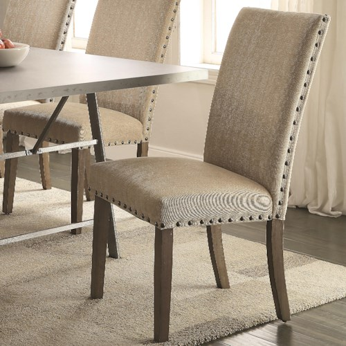 Coaster Amherst Casual Parson Chair with Tan Fabric Upholstery and Nailhead Trim