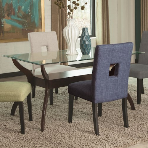Coaster Andenne Glass Top Dining Table with Splayed Legs
