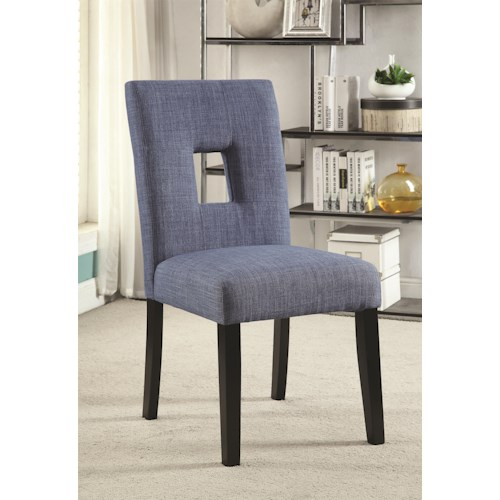 Coaster Andenne Upholstered Side Chair with Square Cutout in Seat Back