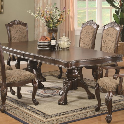 Coaster Andrea Traditional Double Pedestal Dining Table