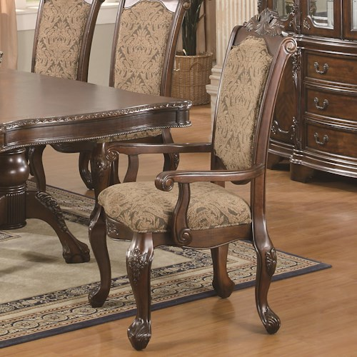 Coaster Andrea Cushion Seat And Back Rolled Arm Dining Chair
