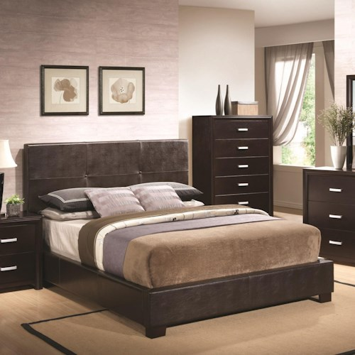 Coaster Andreas King Bed with Button Tufted Cappuccino Leatherette Headboard