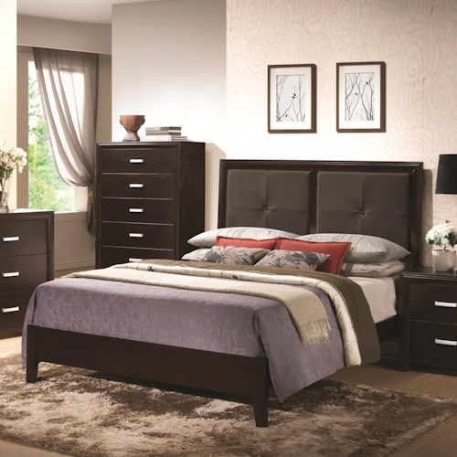 Coaster Andreas Queen Bed with Dark Grey Leatherette Tufted Headboard