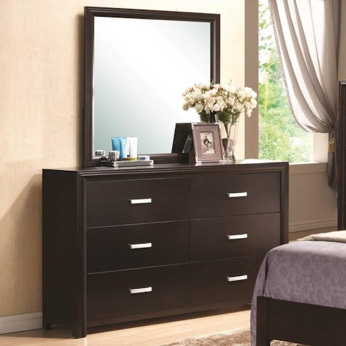 Coaster Andreas 6 Drawer Dresser and Mirror Combo in Cappuccino Finish