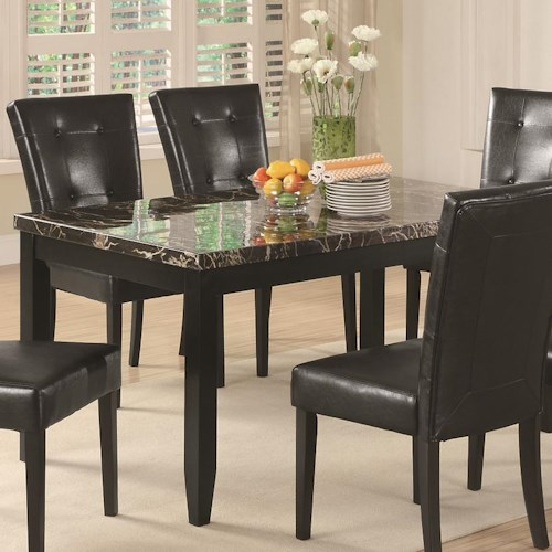 Coaster Anisa Dining Table with Black Faux Stone Top