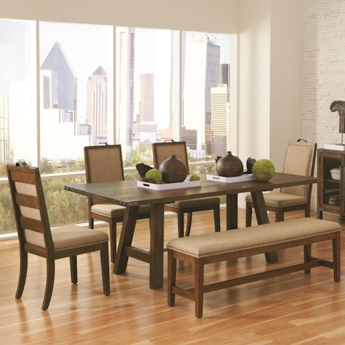 Coaster Arcadia Industrial 6 Piece Table & Chair Set with Bench