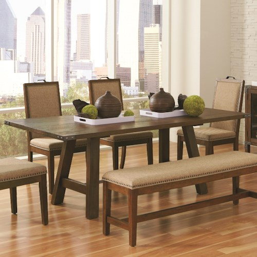 Coaster Arcadia Industrial Dining Table with Metal Accents