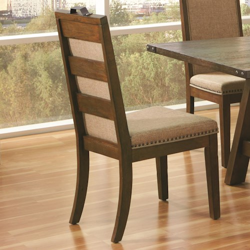Coaster Arcadia Industrial Upholstered Side Chair with Nail Head Trim