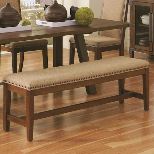Coaster Arcadia Industrial Upholstered Dining Bench with Nail Head Trim