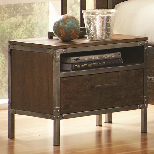 Coaster Arcadia 20380 Industrial Night Stand with Pewter-Coated Metal Accents