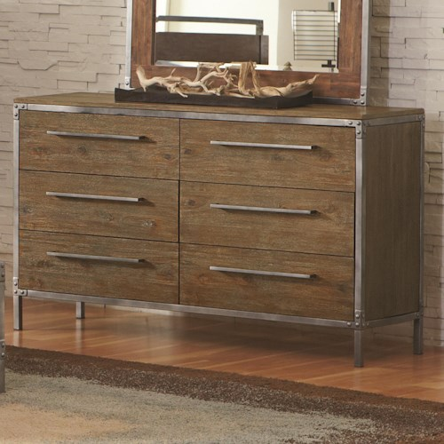Coaster Arcadia 20380 Industrial 6 Drawer Dresser with Pewter-Coated Metal Accents