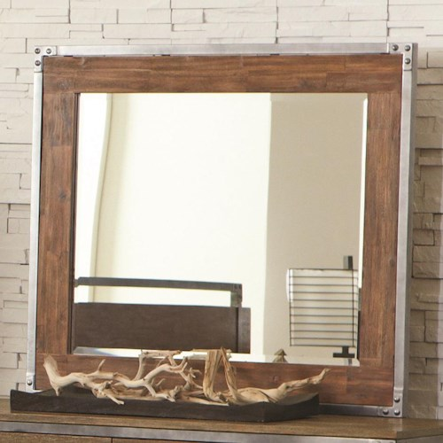 Coaster Arcadia 20380 Industrial Landscape Mirror with Pewter-Coated Metal Accents