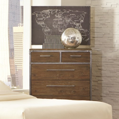 Coaster Arcadia 20380 Industrial 6 Drawer Chest with Metal Accents