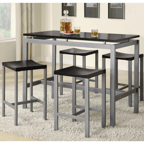 Coaster Atlus Counter Height Contemporary Silver Metal Table with Black Top and 4 Stools