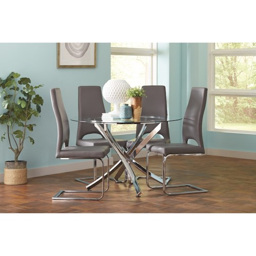 Coaster Augustin Contemporary Round Dining Room Table and Chair Set