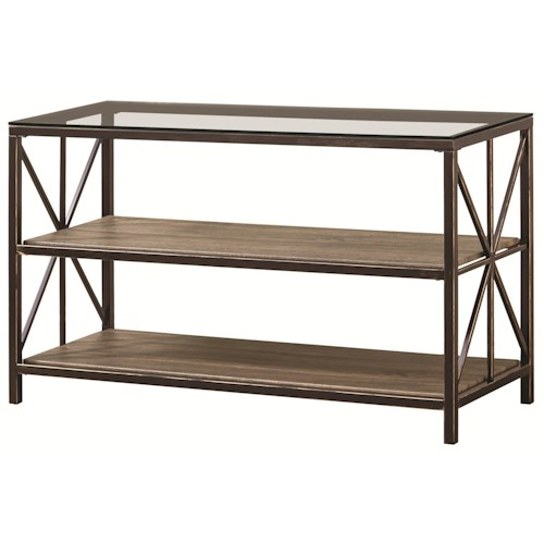 Coaster Avondale Rustic Sofa Table with Wood Shelves and Glass Top