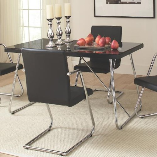 Coaster Avram Rectangle Dining Table with Tempered Glass Top