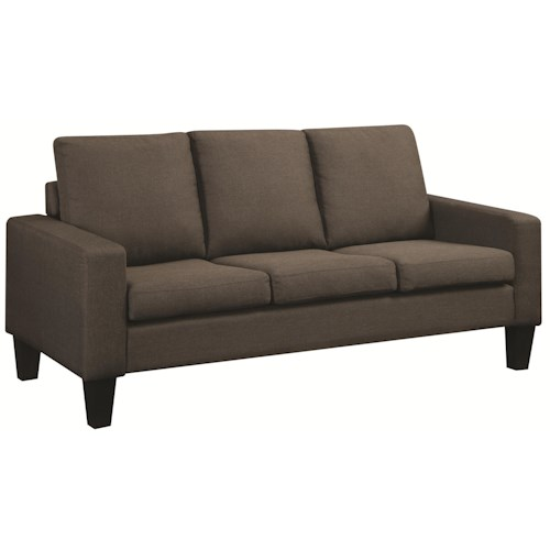 Coaster Bachman Sofa with Track Arms and Tapered Wood Legs